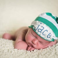 Newborn name hat- green and white stripe knit w/ embroidery -photo prop- baby boy- baby girl-