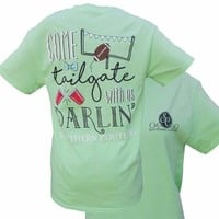 SALE Southern Couture Preppy Come Tailgate With Us Football Mint T-Shirt