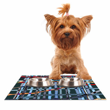 "Patternmuse ""Midnight Bamboo"" Multicolor Blue Painting Dog Place Mat"