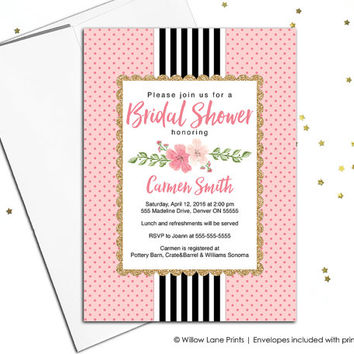 floral bridal shower invitation printable with gold, black and white stripes, wedding shower invite, bridal shower invitations printed (683)