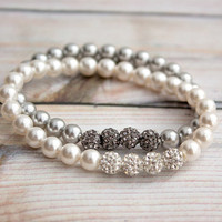 Swarovski Gray Faux Pearls & Crystal Epoxy Clay Beads Elastic Bridal Bracelet