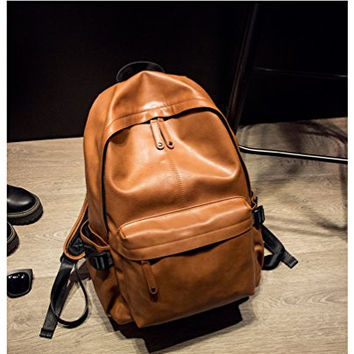 NingDom PU Leather Strong Backpack Laptop Book-bag Vintage School College Rucksack Bag Orange