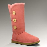 UGG Australia Women's Bailey Button Triplet Rose Clay Sheepskin Boot 5 M US