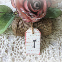 Vintage Inspired / Hand Stamped / Vintage Script and Key / Wood tags / Set of 6