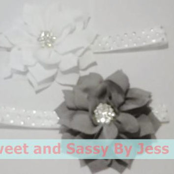 White and grey headband, Silver and white headband, Elegant headband, white and silver bow, Elastic headbands, Mommy and me, hair accesories