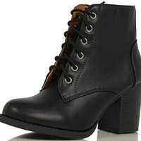 Soda Women Korman Cute Chunky Lace Up Leatherette Zipper Ankle Bootie