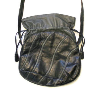 1980's Charles Klein Leather Purse, Black And Gray, Cross Body, Shoulder Bag