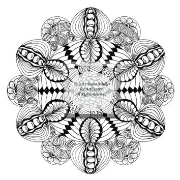 Intricate Colouring Sheet Zen Doodle Instant Download pdf and png Abstract Art Zentangle Inspired.Jewel Mandala