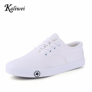 KALIWEI 2017 Spring And Summer Female Student Movement White Canvas Shoes Women Casual Shoes For A Pure Lazy Low Nurse Shoe