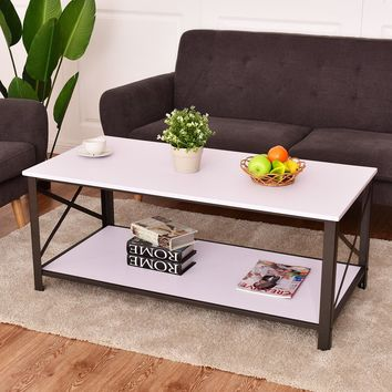 Giantex Wood Coffee Table Cocktail Side Accent Table Metal Frame with Storage Shelf White Living Room Furniture HW54329WH