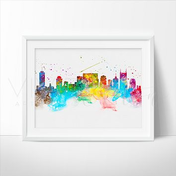 Nashville Skyline Watercolor Art Print
