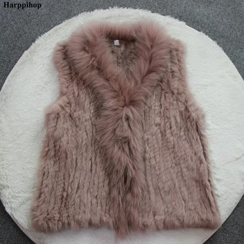 new Women Genuine Natural Real rabbit fur Knitted Vests /Waistcoat/ gilet /coats with Raccoon Fur collar vest 20 colors
