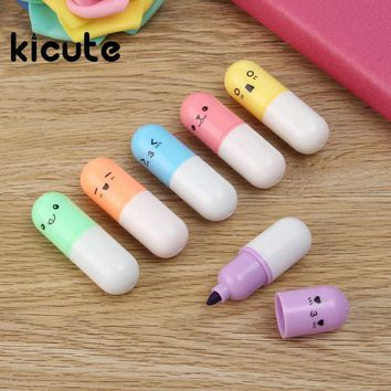 Kicute 6pcs Mini Pill Shaped Candy Color Highlighter Pens For Writing Cute Face Graffiti Marker Pen School Office Supply