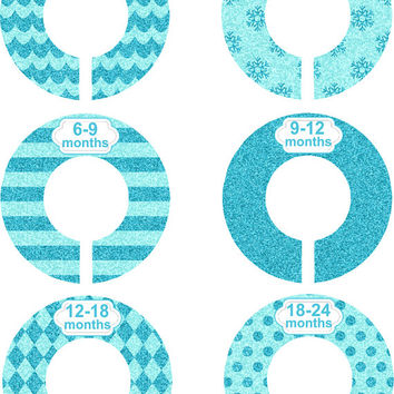 Custom Baby Closet Dividers Girl Turquoise Glitter Nursery Closet Dividers Organizer Baby Shower Gift Baby Clothes Organizers Baby Nursery