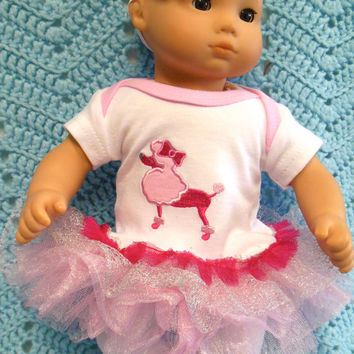"AMERICAN GIRL Bitty Baby Clothes ""Pretty Poodle"" (15 inch) doll outfit  dress, leggings, booties/ socks, and headband hair clip lady bug"