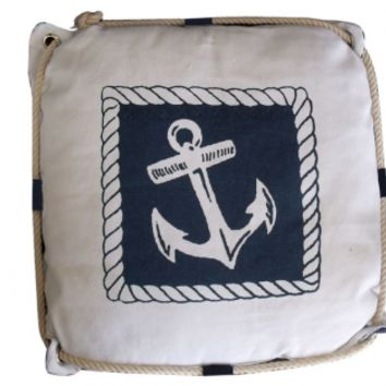 Navy Blue and White Anchor Decorative Nautical Pillow with Rope 15""