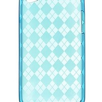 Premium TPU Flexi Soft Gel Skin compatible with iPod Touch 4th Generation, 4th Gen - Blue Checkers Argyle Print
