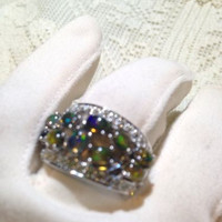 Vintage Deep Toned Green Natural Opals 92.5% Sterling Silver Size 7.5 Ring