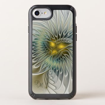Golden Silver Flower abstract Fractal Art Monogram Speck iPhone Case