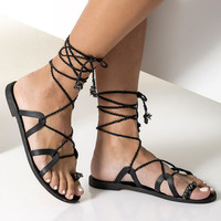 "Black lace up sandals, Embellished sandals, Formal sandals, Luxurious flat sandals ""Electra"" NEW SS17 - Free standard shipping"