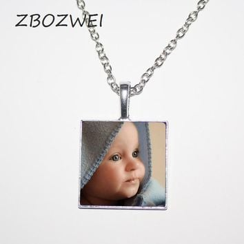ZBOZWEI Personalized Photo Pendants Custom Necklace Photo of  Baby Child Mom Dad Grandparent Loved One Gift  Family Member Gift