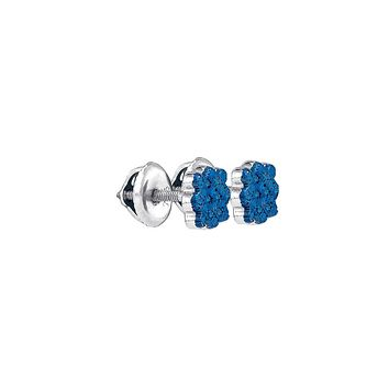 Sterling Silver Womens Round Blue Colored Diamond Cluster Screwback Stud Earrings 1/20 Cttw