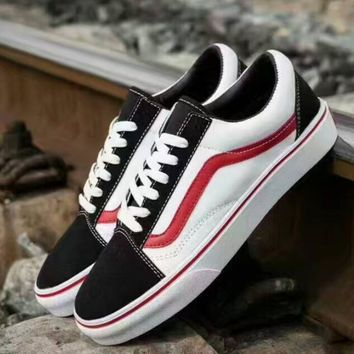 VANS Trending Casual Sports Sneakers Shoes black white red line H-PSXY