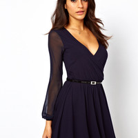 ASOS Skater Dress With Chiffon Sleeves And Belt
