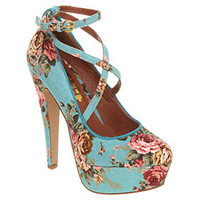 Office SIMPLE MINDS BLUE FLORAL TEXTILE Shoes - Womens High Heels Shoes - Office Shoes