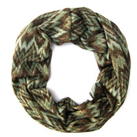 Chevron Cowl Scarf Single Loop Eternity Scarf Brown Green Cute Tube Scarf Multicolored Scarf Fashion Scarf Poe-Poe's Just Enough Scarf