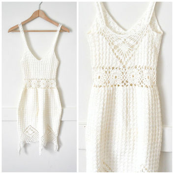 bohemian WEDDING dress RETRO 1970s white crochet ALTERNATIVE beach wedding festival dress