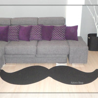Mustache rug. Elegant rug with shape of mustache. Custom rug. XL size. Choose gross or thin and the color you want
