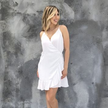 Pretty Please Wrap White Dress