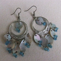 Mother of Pearl and Seed Bead Earrings