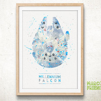 Millennium Falcon, Star Wars - Watercolor, Art Print, Nursery Wall decor, Watercolor Print, Star Wars Poster