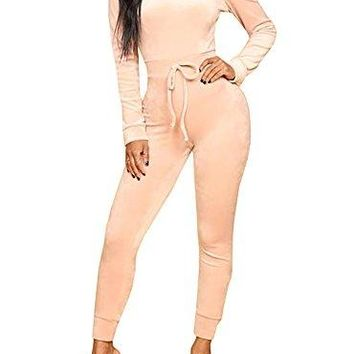 Gobought Jumpsuit Off The Shoulder Bodycon Long Sleeve Drawstring Long Rompers
