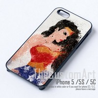 Wonder Woman painting - For iPhone 5 Black Case Cover