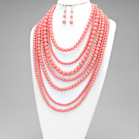 Lady Pearl  Necklace Set Peach