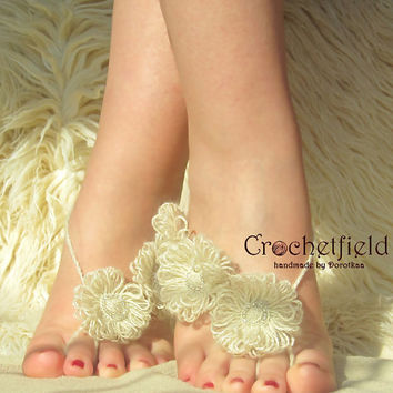 Floral Summer Barefoot Sandals, Gypsy, Beaded, Beach pool party, Nude shoes, Foot thong, Anklet, Foot jewelry, Flowers, Wedding, Gift