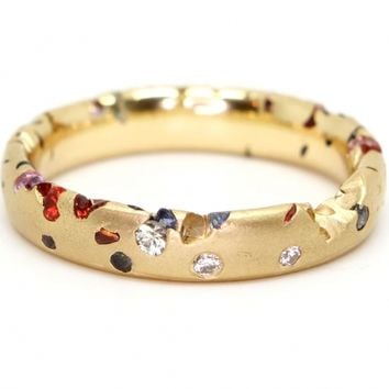 Confetti Ring with Small Sapphires and Diamonds (Narrow) « Bespoke Designer Jewellery | Polly Wales