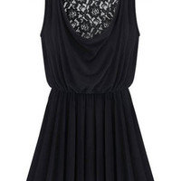 Black Ruffled Cut-Out Mini Dress