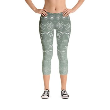 Elephant Mandala in Green Capri Leggings