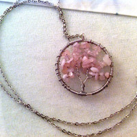 Rose Quartz Tree Of Life / Wire-Wrapped Necklace