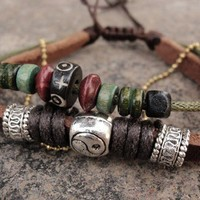 Zen scripts leather bracelet with beautiful wooden beads and yak bone beads, Yinyang beaded bracelet | eyongs - Jewelry on ArtFire