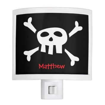Cartoon pirate skull personalized name night light