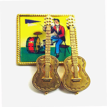 Vintage Guitar Earrings Signed JJ Goldtone Costume Jewelry for Music Lover Musician