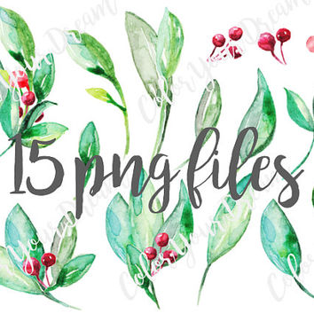 Red Berries & Leaves Floral Watercolor ClipArts Digital Files Download Wedding Invitation Flower Wreath Printable Xmas Berry Winter