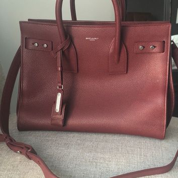 $2,890 Yves Saint Laurent YSL Small Sac De Jour Bag Grained Leather Dark Red