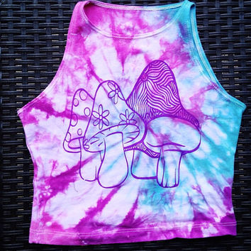 Tie Dye Mushroom Print Crop Top Rave Clothing Coachella Festival Clothes American Apparel Cropped Tee