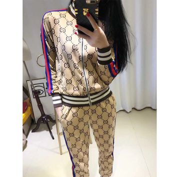 GUCCI fashion new style casual bump color striped letter zipper jacket + small foot 9 minutes pants suit